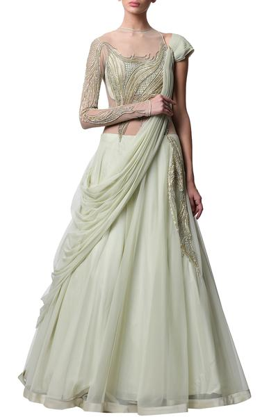 Gowns, Clothing, Carma, Pale Mint Draped Saree Gown ,  ,
