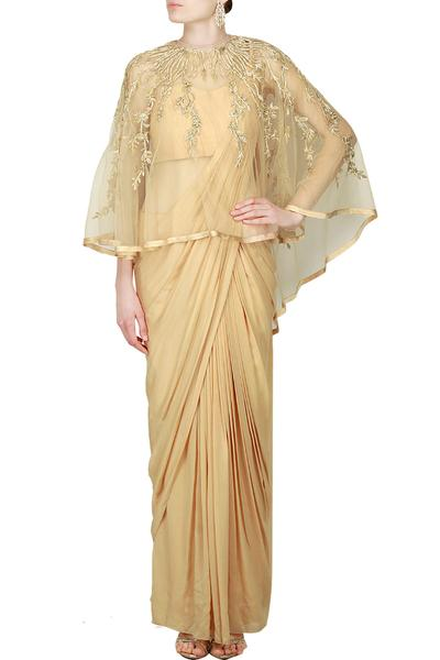 Sarees, Sarees, Clothing, Carma, Draped champagne saree gown and cape ,  ,