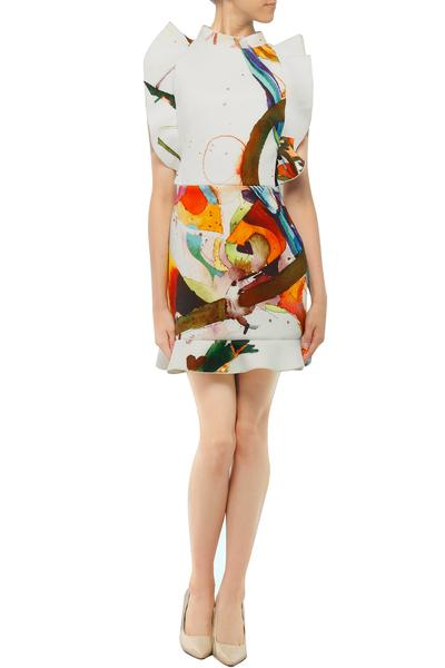 Dresses, Clothing, Carma, White abstract paint effect print ruffled dress ,