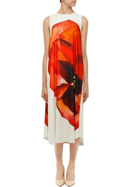 Dresses, Clothing, Carma, White and red pansy print trapeze dress ,