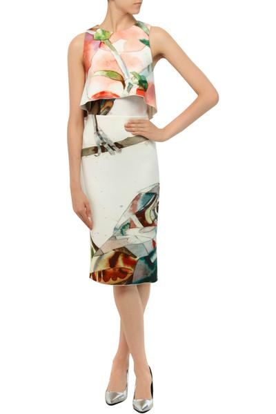 Dresses, Clothing, Carma, White bird print layered bodice pencil dress ,