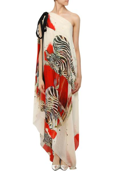 Dresses, Clothing, Carma, White and red zebra print one shoulder maxi dress ,