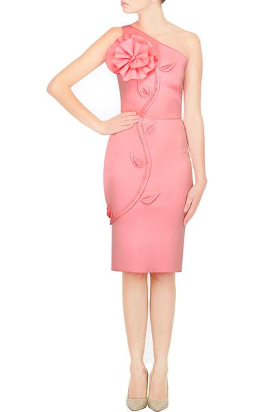 Dresses, Clothing, Carma, Light Pink Off Shoulder Ruffle And Vine Detailing Pencil Dress ,