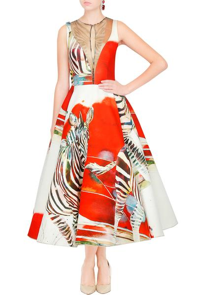 Dresses, Clothing, Carma, White And Red Zebra Printed Net Inserts Midi Dress ,