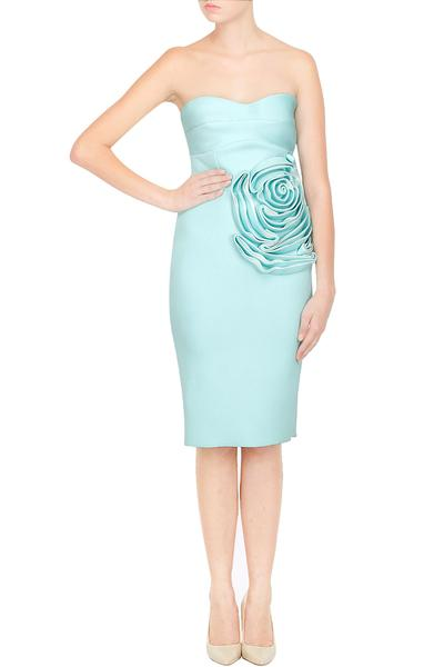 Dresses, Clothing, Carma, Mint Blue Strapless Circular Flower Detailing Pencil Dress ,