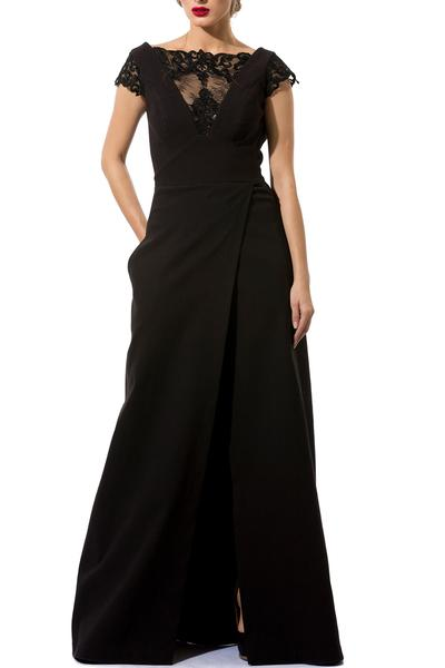 Gowns, Clothing, Carma, Black overlap gown ,  ,