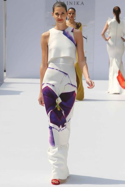 Gowns, Clothing, Carma, White and purple pansy printed layered gown ,