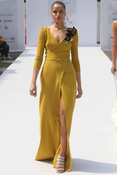 Gowns, Clothing, Carma, Mustard front slit wrap gown with applique flowers ,