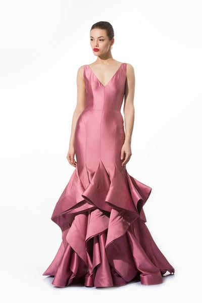 Gowns, Clothing, Carma, Sorbet pink structured frilled gown ,  ,
