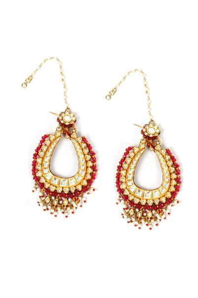 Earrings, Accessories, Carma, Gold finish kundan long earrings ,