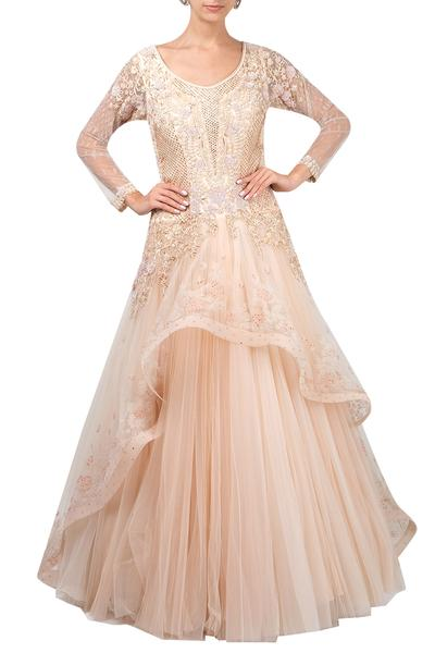 Gowns, Clothing, Carma, Pale peach draped applique gown ,  ,