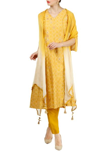 Suits, Clothing, Carma, Mango yellow embroidered kurta set ,  ,  ,