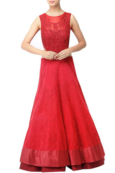 Gowns, Clothing, Carma, Red Thread Work Gown ,  ,  ,