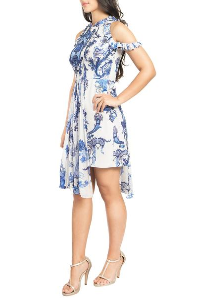 Dresses, Clothing, Carma, Ivory and blue embroidered and printed dress ,  ,