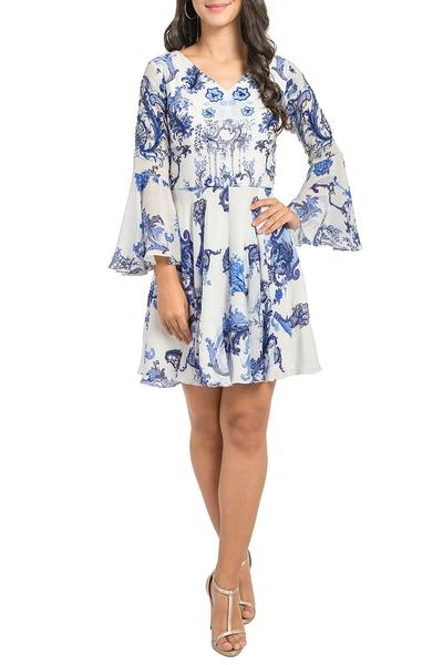 Dresses, Clothing, Carma, Ivory and blue printed dress ,  ,