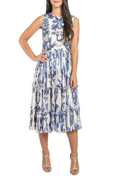 Dresses, Clothing, Carma, Ivory and blue printed tiered dress ,  ,