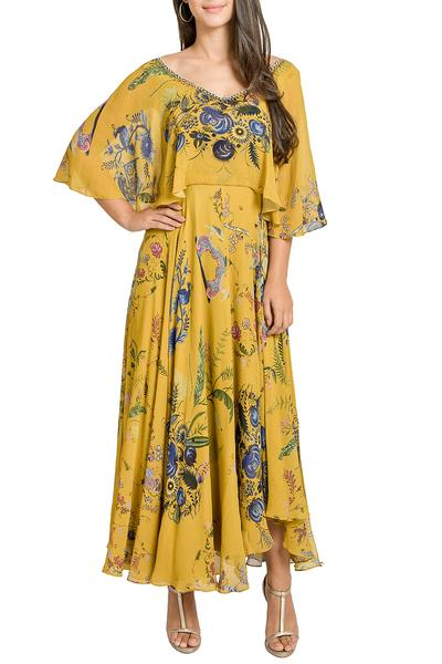 Dresses, Clothing, Carma, Mustard yellow printed cape dress ,  ,