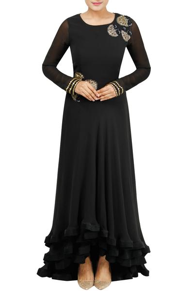 Gowns, Clothing, Carma, Black Embroidered Layered Gown ,  ,  ,