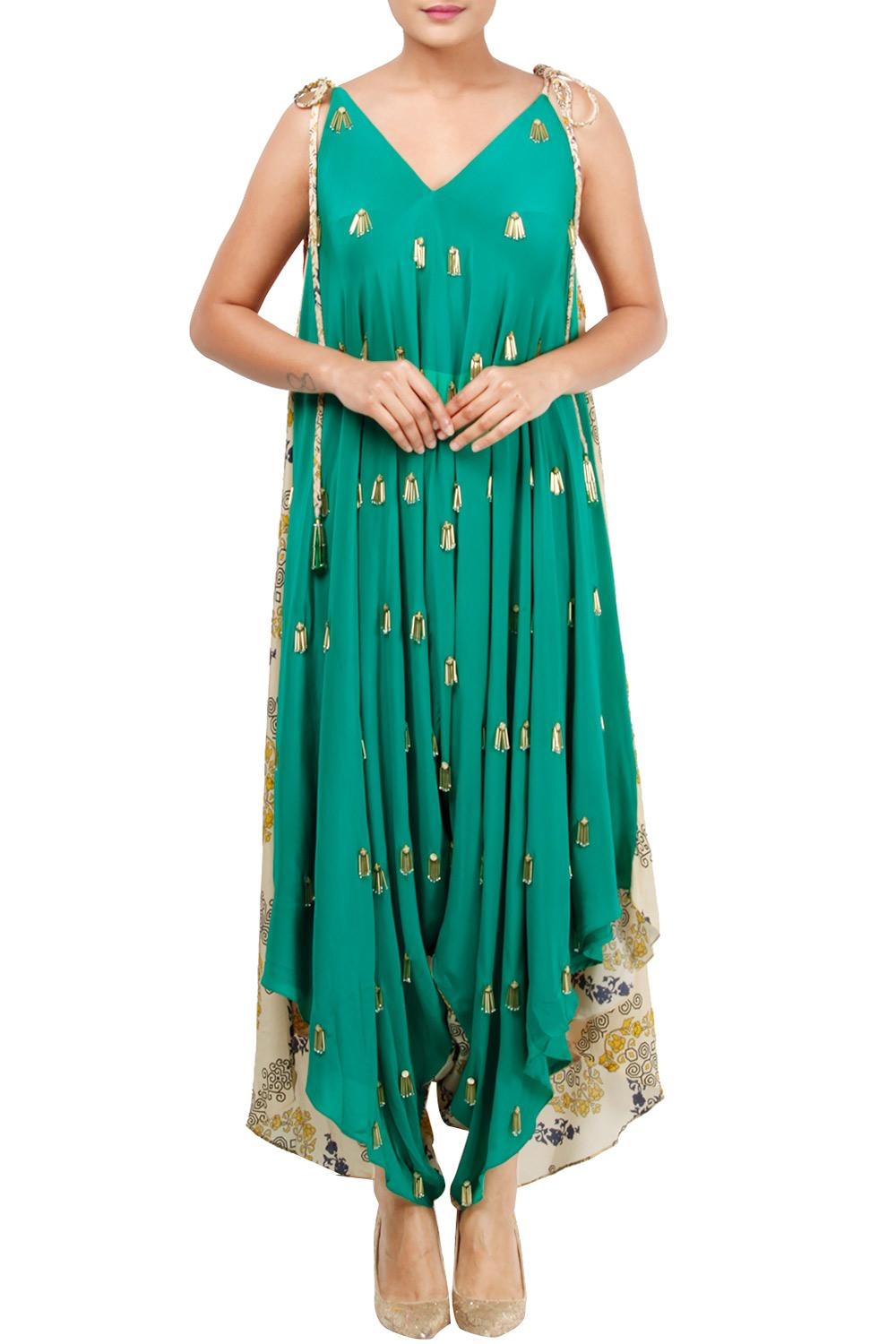 ec75164c9e14 Green And Printed Dhoti Jumpsuit by Julie Shah