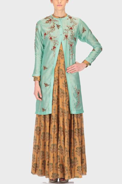 Suits, Clothing, Carma, Mustard floral anarkali with green jacket ,  ,