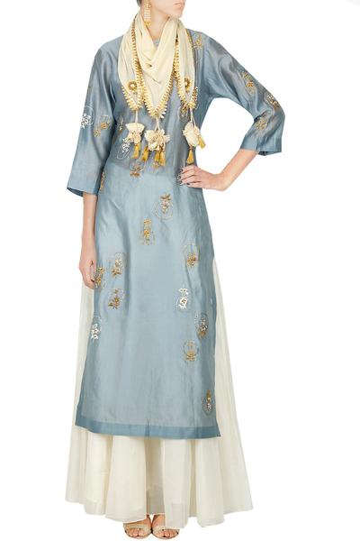 Suits, Clothing, Carma, Twilight blue embroidered kurta with white flared skirt ,  ,
