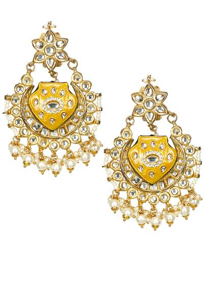 Earrings, Accessories, Carma, Gold plated jadtar crescent thewa earrings ,