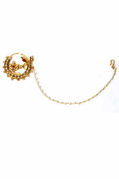 Nose Rings, Accessories, Carma, Gold plated jadtar nose ring ,