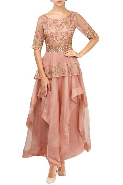 Gowns, Clothing, Carma, Pink layered peplum gown ,  ,