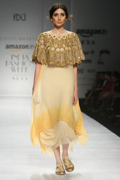Dresses, Clothing, Carma, Gold And Yellow Ombre Dress With Embroidered Cape ,  ,  ,