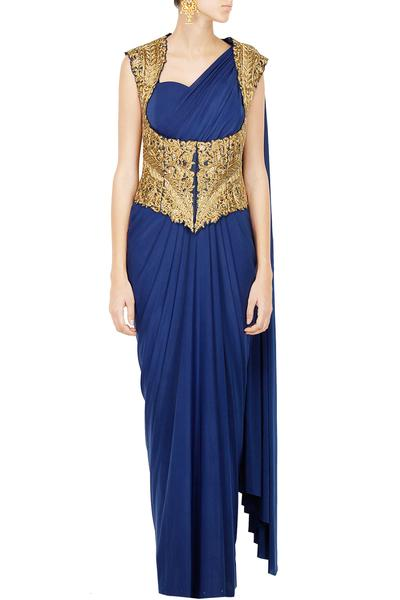 Sarees, Sarees, Clothing, Carma, Navy Blue Saree With Zari Work Jacket ,