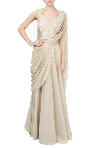 Gowns, Clothing, Carma, Beige embroidered draped gown ,  ,
