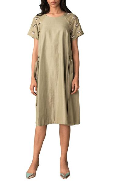 Dresses, Clothing, Carma, Moss green A line dress ,  ,  ,