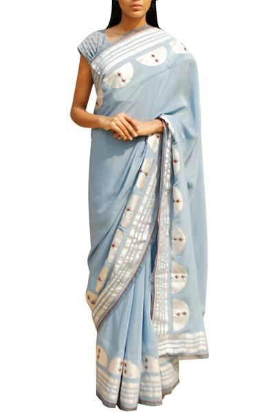 Sarees, Sarees, Clothing, Carma, Pale blue foil print saree ,  ,