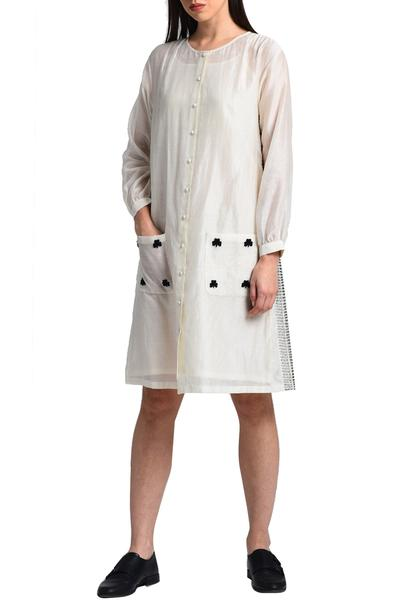Dresses, Clothing, Carma, Ivory embroidered shirt dress ,  ,  ,