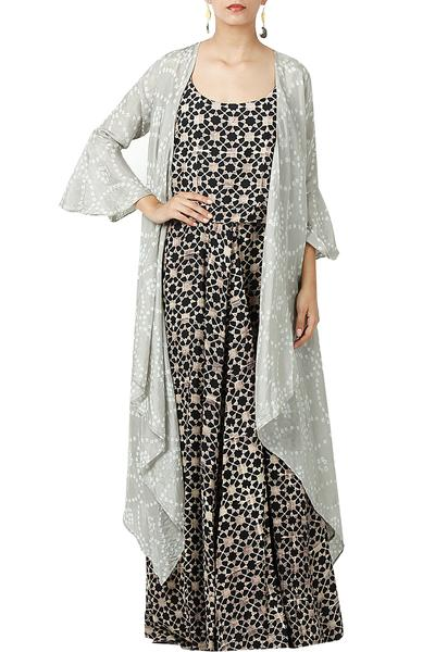 Dresses, Clothing, Carma, Black Printed Maxi Dress With Shrug ,  ,  ,