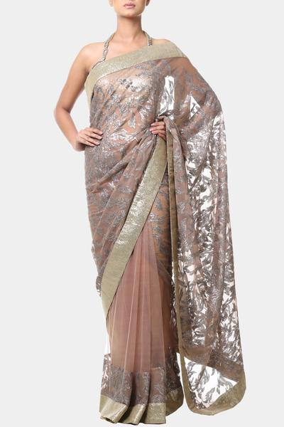 Sarees, Sarees, Clothing, Carma, Pale beige sequin embroidered saree ,  ,