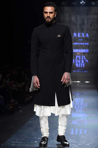Sherwanis, Men's, Carma, Black Textured Achkan Jacket With Kurta And Churidaar ,  ,  ,