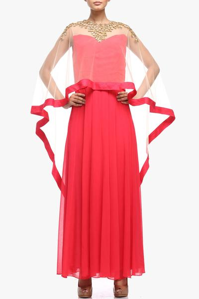 Gowns, Clothing, Carma, Coral maxi dress with cape ,  ,