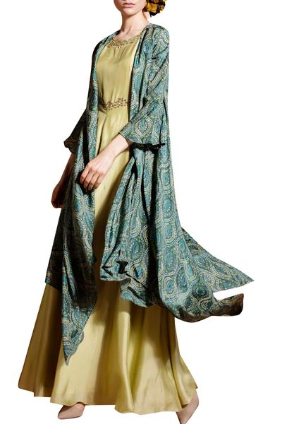 Gowns, Clothing, Carma, Pale green gown with block print cape ,  ,  ,
