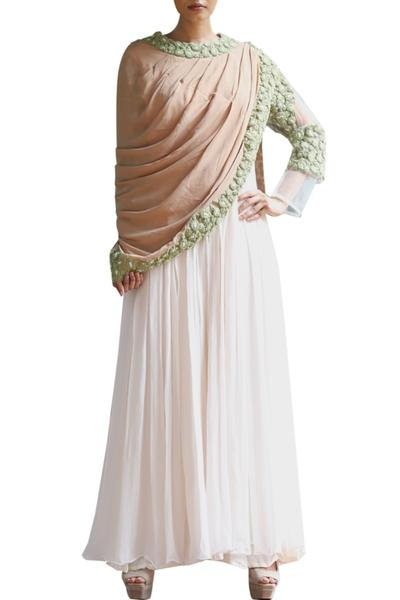 Gowns, Clothing, Carma, Ivory Anarkali Gown With Contrast Drape Dupatta ,  ,
