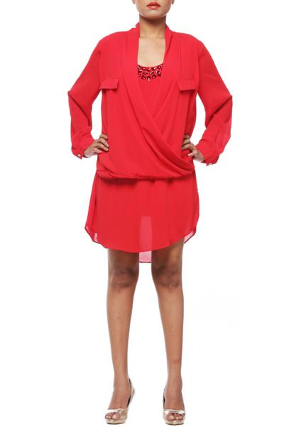 Dresses, Clothing, Carma, Red Overlap Layered Dress ,  ,