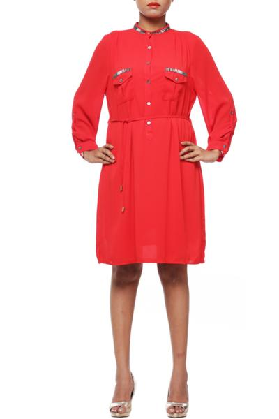 Dresses, Clothing, Carma, Red Embellished Front Button Dress ,  ,