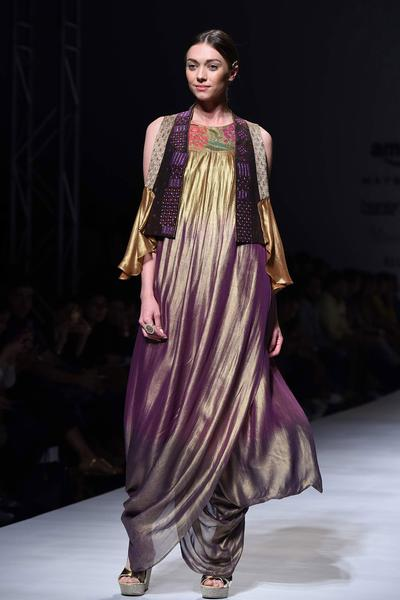 Dresses, Clothing, Carma, Gold Metallic Finish Ombre Draped Dress With Jacket ,  ,  ,