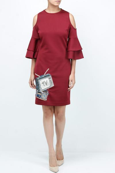 Dresses, Clothing, Carma, Maroon cold shoulder patch work dress ,