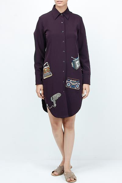Dresses, Clothing, Carma, Black patch work shirt dress ,