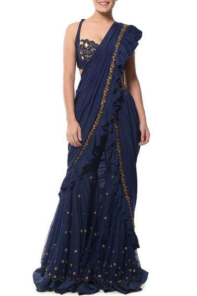 Sarees, Sarees, Clothing, Carma, Indigo blue sharara saree ,  ,  ,