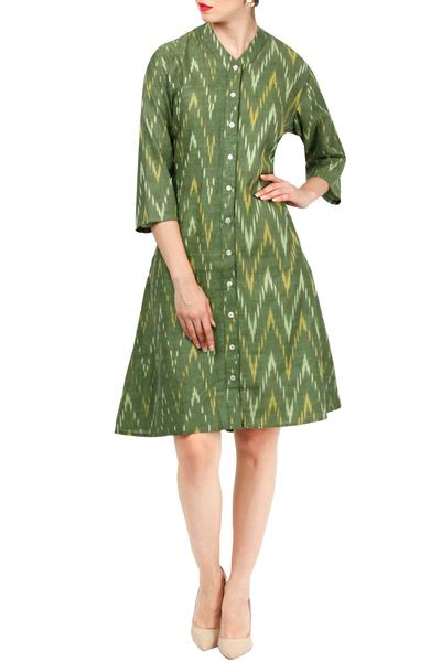 Dresses, Clothing, Carma, Green A line ikkat dress ,  ,