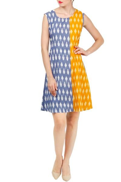 Dresses, Clothing, Carma, Sky blue and yellow ikkat dress ,  ,