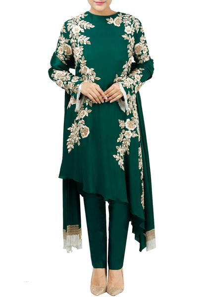 Suits, Clothing, Carma, Emerald green embroidered kurta set ,  ,  ,