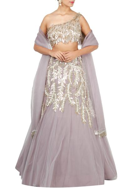 Lehengas, Clothing, Carma, Lilac Embroidered Lehenga Set ,  ,  ,